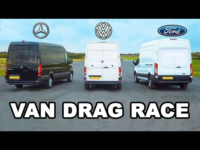 Mercedes Sprinter vs <em>Ford</em> Transit vs VW Crafter - VAN DRAG RACE, ROLLING RACE & BRAKE TEST