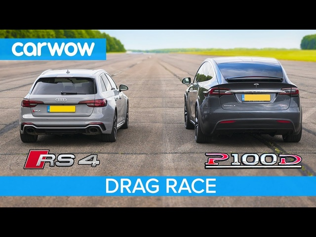 Audi RS4 vs <em>Tesla</em> Model X P100D - DRAG RACE, ROLLING RACE & BRAKE TEST