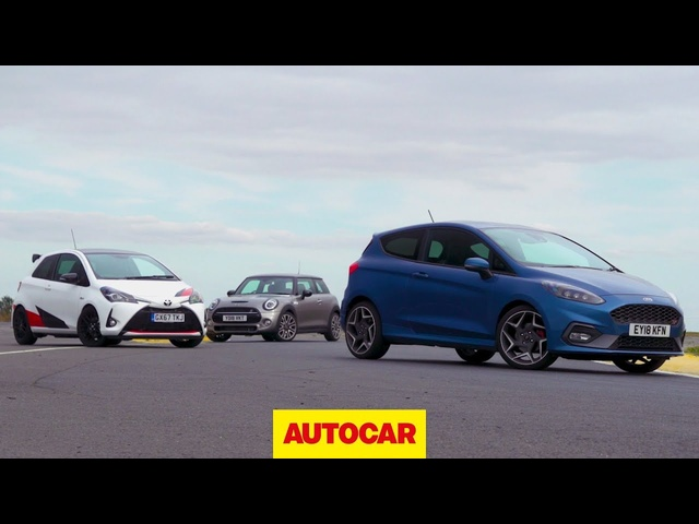 Hot hatch track battle: 2019 <em>Ford</em> Fiesta ST v Mini Cooper S v Toyota Yaris GRMN | Autocar
