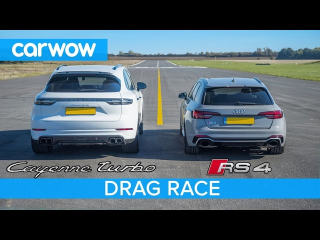 Porsche Cayenne Turbo vs <em>Audi</em> RS4 DRAG RACE - see which is quickest