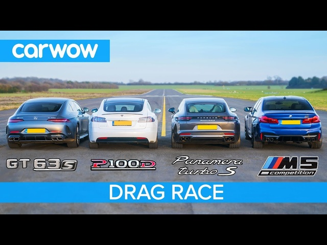 <em>Tesla</em> Model S v AMG GT 4 v BMW M5 v Porsche Panamera Turbo S - DRAG RACE, ROLLING RACE & BRAKE TEST