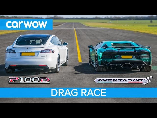 <em>Lamborghini</em> Aventador S v Tesla Model S P100D -DRAG RACE, ROLLING RACE & BRAKE TEST