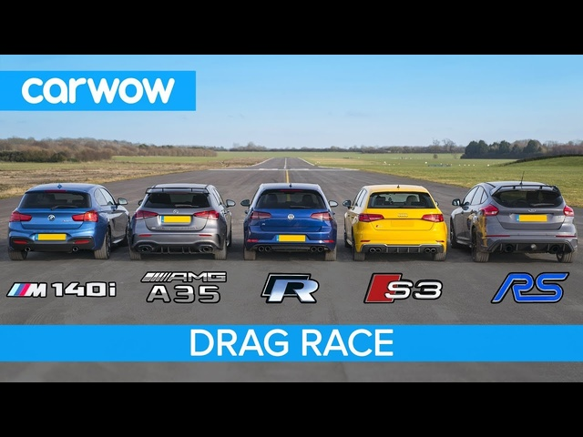 AMG A35 v BMW M140i v Golf R v <em>Audi</em> S3 v Focus RS - DRAG RACE, ROLLING RACE & BRAKE TEST