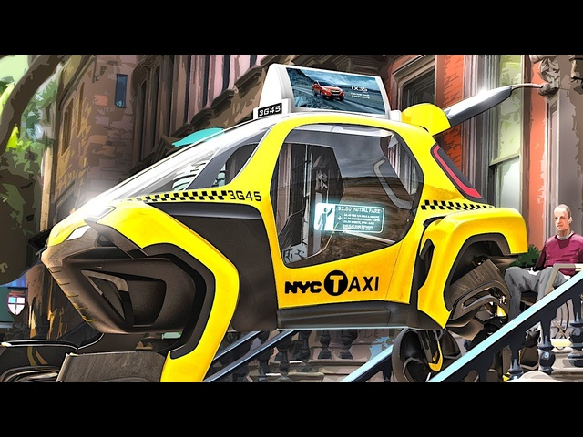 Self Driving Taxis Climb Steps To Collect You New Hyundai Elevate Electric Car Autonomous CARJAM