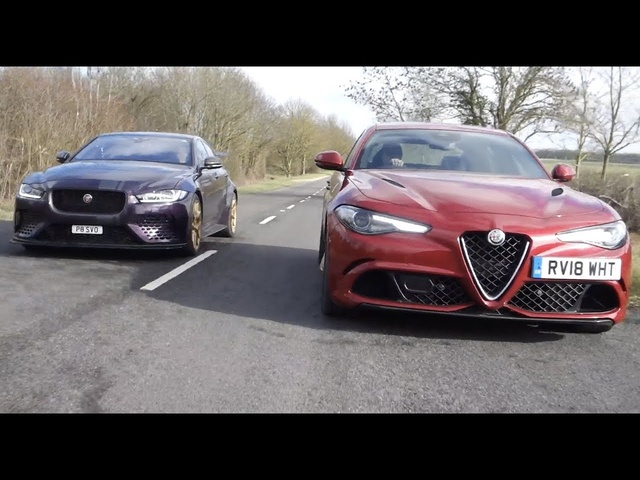 Alfa Romeo Giulia Quadrifoglio vs Jaguar XE SV Project 8 drive review