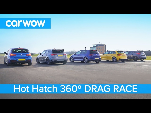 AMG A35 v BMW M140i v Golf R v Audi S3 v Focus RS - 360° DRAG RACE, ROLLING RACE & BRAKE TEST