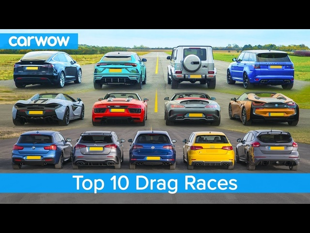 Top 10 Best Drag Races - Lamborghini v Tesla vs AMG v BMW M v Audi RS v McLaren and more!