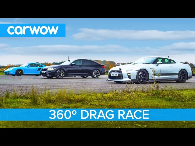 Nissan GT-R vs Porsche 911 Turbo vs BMW M5 Comp - 360° DRAG & ROLLING RACE