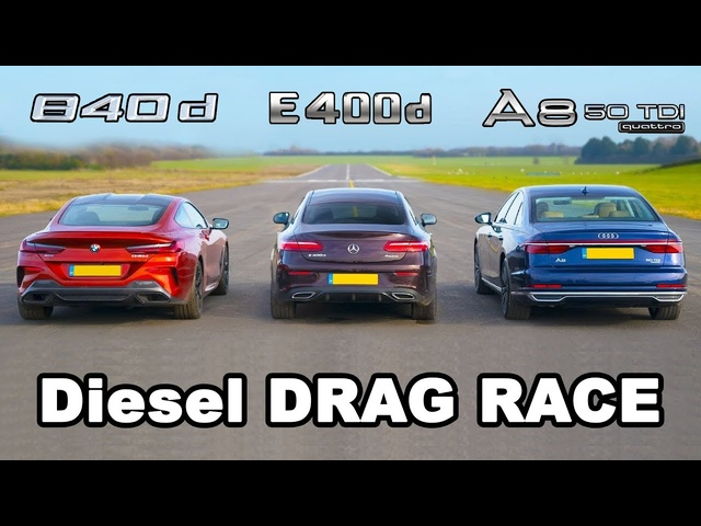 BMW 840d v Mercedes E400d vs Audi A8 50 TDI - Diesel DRAG RACE, ROLLING RACE & BRAKE TEST