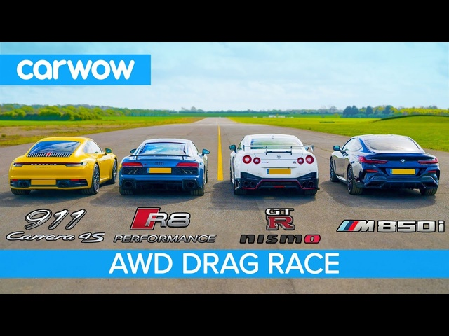 New 911 vs GT-R NISMO vs <em>Audi</em> R8 vs BMW M850i - DRAG RACE, ROLLING RACE & BRAKE TEST