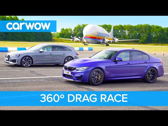 BMW M3 CS vs <em>Audi</em> RS4 DRAG RACE in 360 degree view - rotate your phone to look around!