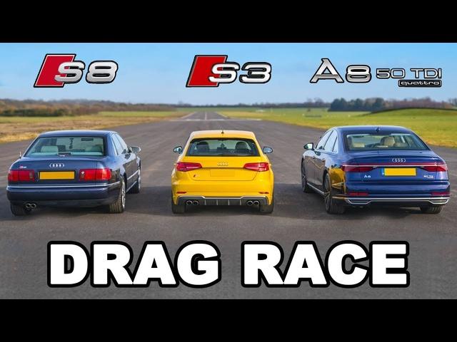 Audi S8 v Audi S3 v Audi A8 -DRAG RACE, ROLLING RACE & BRAKE TEST