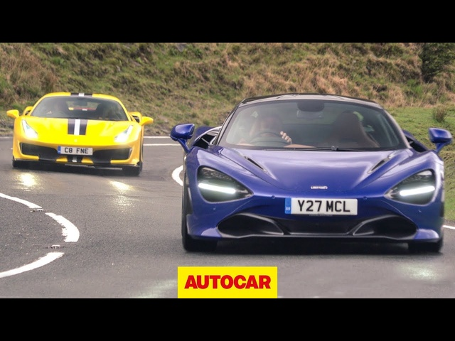 <em>Ferrari</em> 488 Pista v McLaren 720S on the road ... in the wet | Supercar review | Autocar