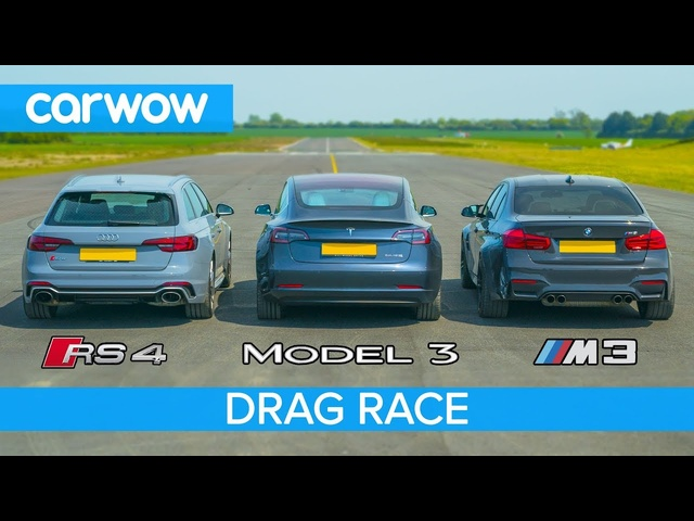 <em>Tesla</em> Model 3 vs BMW M3 vs Audi RS4 - DRAG RACE, ROLLING RACE & BRAKE TEST