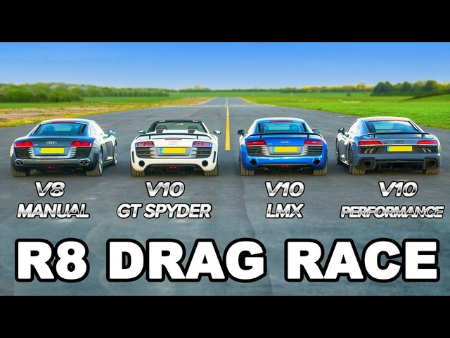 <em>Audi</em> R8 generations 2006-2019 - DRAG RACE, ROLLING RACE & BRAKE TEST!