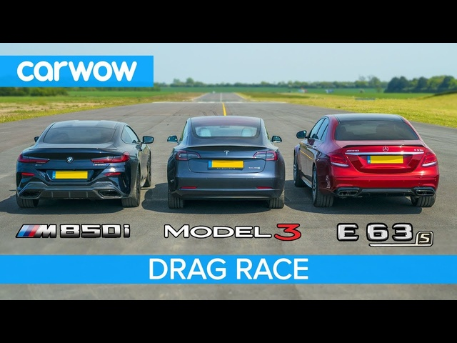 <em>Tesla</em> Model 3 v BMW M850i v Mercedes-AMG E63 S - DRAG RACE, ROLLING RACE & BRAKE TEST