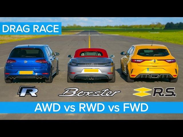 AWD v RWD v FWD DRAG RACE: Golf R v Boxster vs Megane Trophy