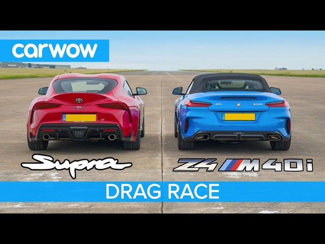 <em>Toyota</em> Supra v BMW Z4 - DRAG RACE, ROLLING RACE & BRAKE TEST