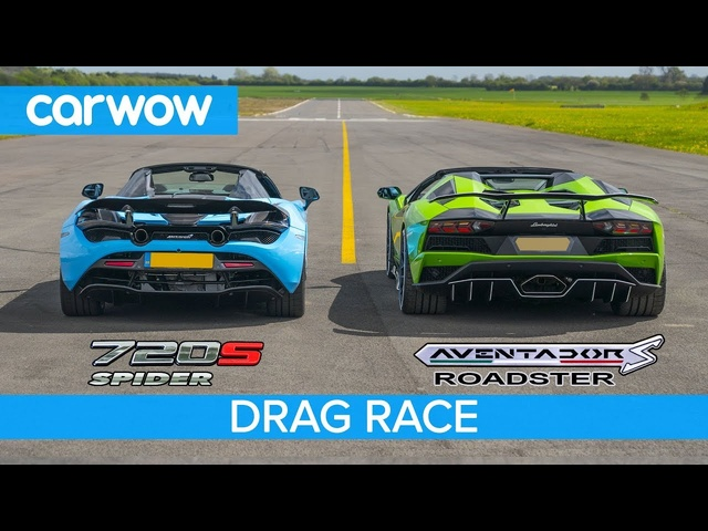 Lamborghini Aventador S Roadster vs <em>McLaren</em> 720S Spider -DRAG RACE, ROLLING RACE & BRAKE TEST