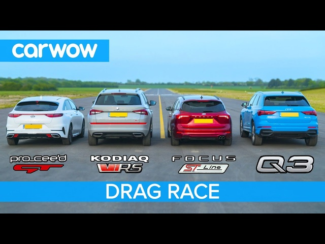Skoda vRS v <em>Audi</em> Q3 v Ford Focus v Kia GT -  THE carwow garage DRAG RACE, ROLLING RACE & BRAKE TEST