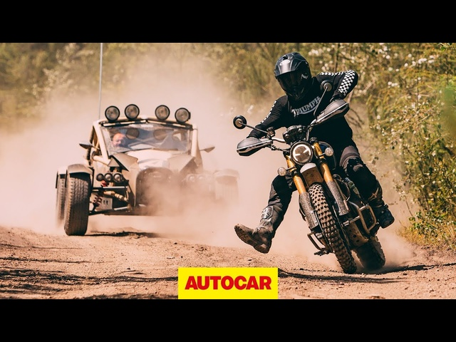 2019 Triumph Scrambler vs Ariel Nomad | Off-road battle | Autocar