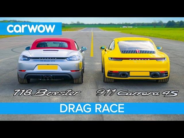New Porsche 911 vs Boxster GTS -DRAG RACE, ROLLING RACE & BRAKE TEST