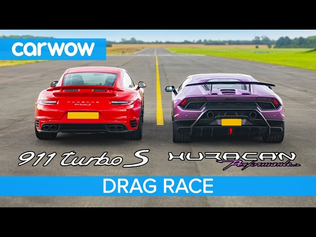 Lamborghini Huracan Performante v Porsche 911 Turbo S - DRAG RACE, ROLLING RACE & BRAKE TEST