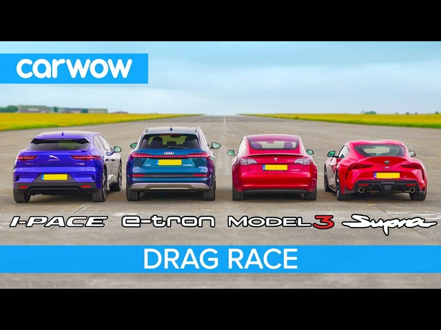 Tesla Model 3 vs I-Pace vs e-tron vs …SUPRA?! - Electric vs Petrol DRAG & ROLLING RACE & BRAKE TEST
