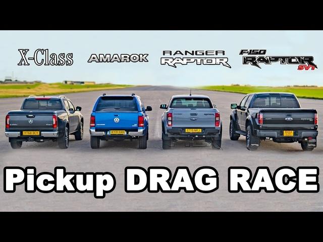 Ford F150 Raptor v Ranger Raptor v <em>Mercedes</em> X-Class v VW Amarok -DRAG RACE & ROLLING RACE