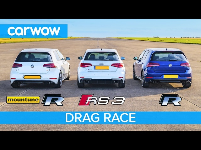 Audi RS3 vs VW Golf R... vs Golf R with £1,200 tune – DRAG RACE, ROLLING RACE AND BRAKE TEST