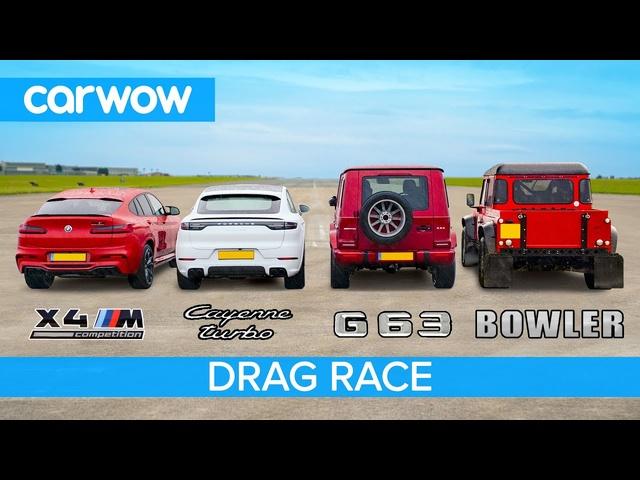 BMW X4M v AMG G63 v Cayenne Turbo v Bowler Bulldog V8 -DRAG RACE, ROLLING RACE & BRAKE TEST