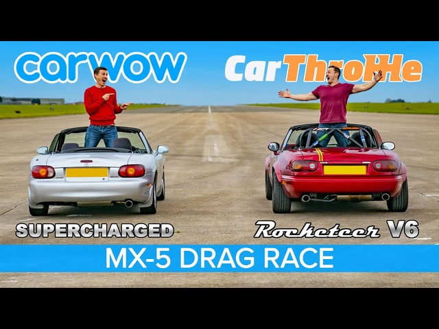 V6 MX-5 vs Supercharged MX-5: Car Throttle vs carwow DRAG RACE, ROLLING RACE & BRAKE TEST!