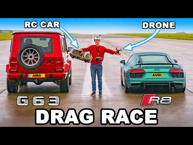 Audi R8 v RC Car v Drone v AMG G63 - DRAG RACE, ROLLING RACE & BRAKE TEST