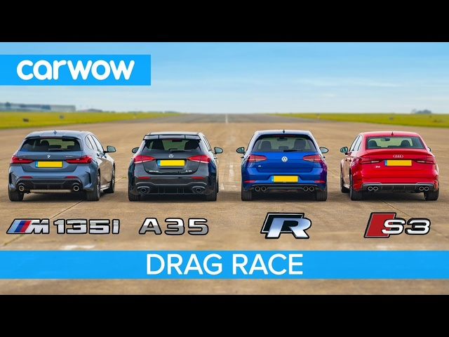 New BMW M135i v AMG A35 v <em>Audi</em> S3 v VW Golf R - DRAG RACE, ROLLING RACE & BRAKE TEST!