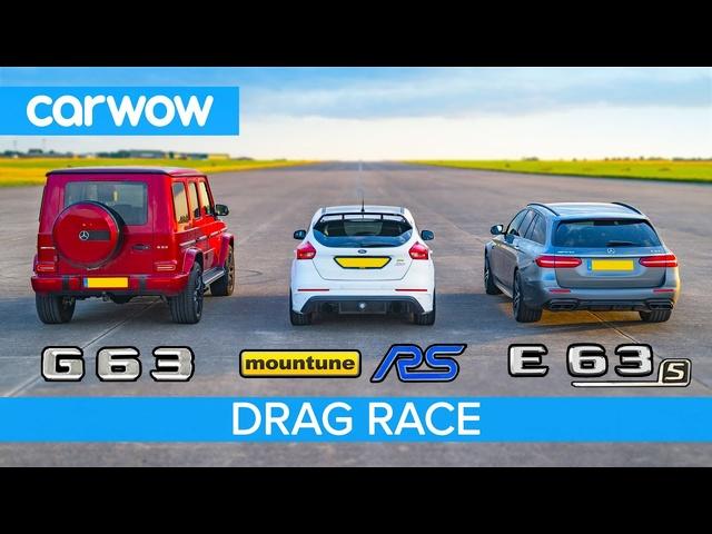 <em>Mercedes</em>-AMG E63 S vs G63 vs 520hp Ford Focus RS – DRAG RACE, ROLLING RACE & BRAKE TEST!