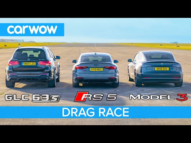 <em>Tesla</em> Model 3 vs Audi RS5 vs AMG GLC63: DRAG RACE *surprise result*!