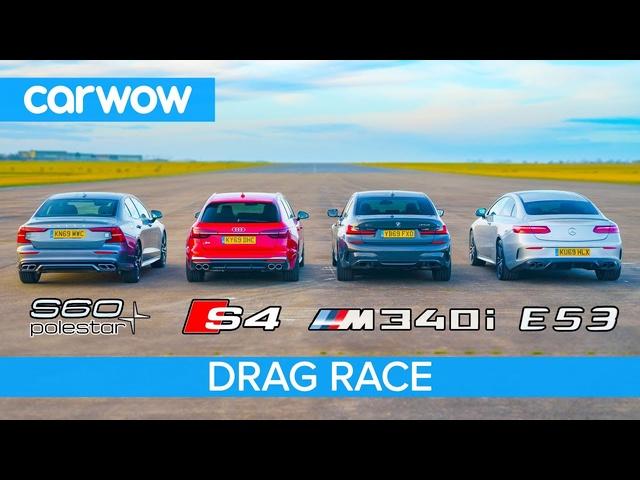 <em>BMW</em> M340i v Audi S4 v AMG E53 v Volvo S60 Polestar: DRAG RACE petrol v diesel v hybrid