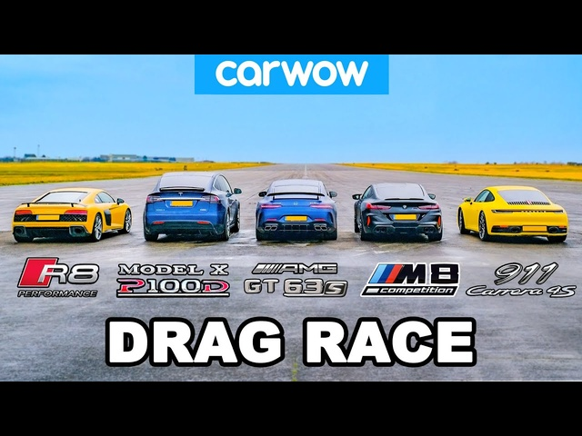 BMW M8 v <em>Audi</em> R8 v AMG GT 4dr v 911 vs Tesla Model X: DRAG RACE