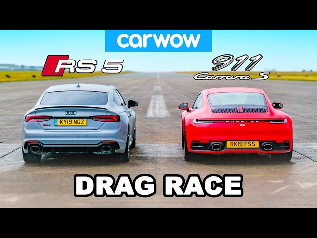 <em>Audi</em> RS5 vs Porsche 911: DRAG RACE *so VERY close*