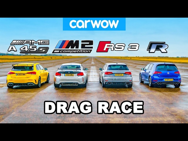 AMG A45S v BMW M2 v <em>Audi</em> RS3 v VW Golf R: DRAG RACE, ROLLING RACE & BRAKE TEST!