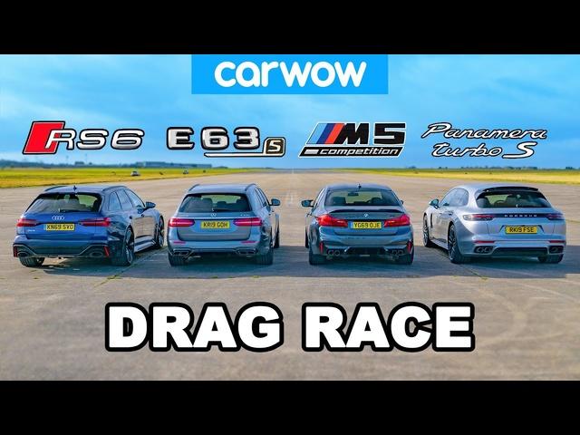 Audi RS6 v BMW M5 v AMG E63 v <em>Porsche</em> Panamera -DRAG RACE