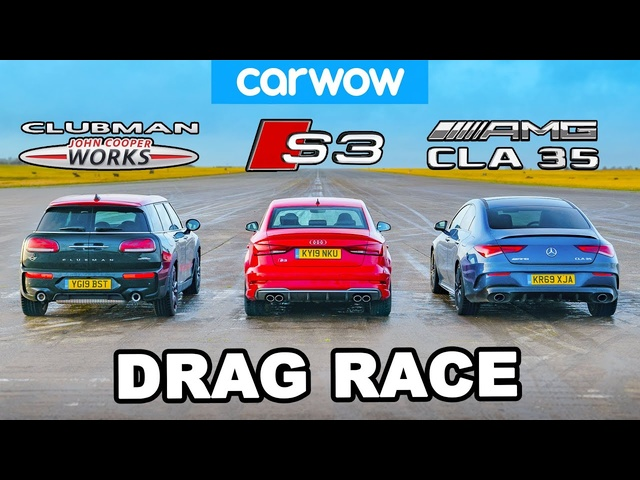 AMG CLA 35 v <em>Audi</em> S3 v MINI 4x4 JCW - DRAG RACE, ROLLING RACE & BRAKE TEST!