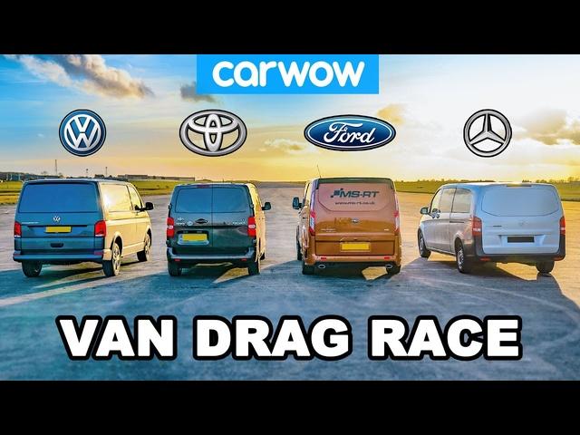 VW Transporter v Ford Transit v Toyota Proace v <em>Mercedes</em> Vito -VAN DRAG RACE!