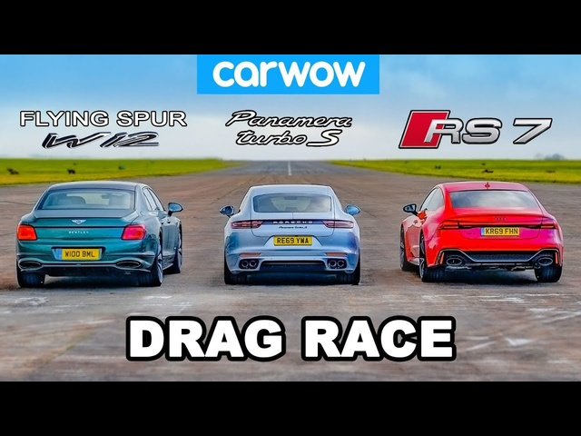 Bentley Flying Spur vs <em>Audi</em> RS7 vs Porsche Panamera Turbo S - DRAG RACE!