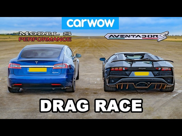 Lamborghini Aventador vs NEW <em>Tesla</em> Model S Performance: DRAG RACE!