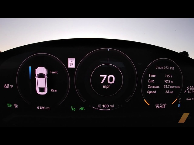 2020 Porsche Taycan Turbo Range Test -- 295 MILES -- Gauge View Video