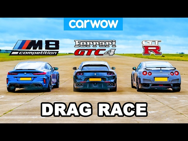 <em>BMW</em> M8 vs Nissan GT-R vs Ferrari V12 -DRAG RACE!