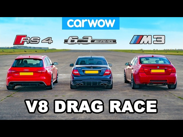 BMW M3 v AMG C63 v <em>Audi</em> RS4: V8 DRAG RACE