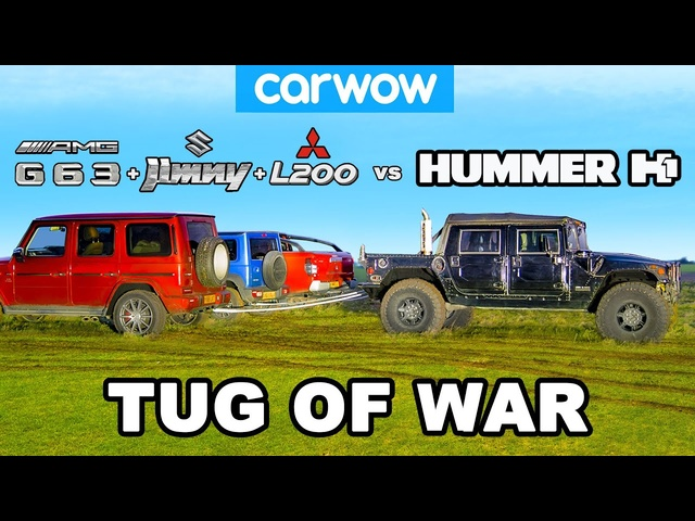 Hummer H1 vs G63 + Jimny + L200: TUG OF WAR!