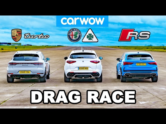 Porsche Turbo v Audi RS v Alfa Quadrifoglio - DRAG RACE
